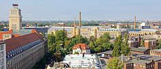 Blick vom TGS-Turm auf den Campus Wilhelminenhof - © HTW Berlin / Torsten Rack